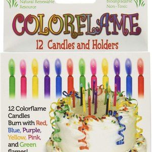 12 Birthday Candles With Colored Flames